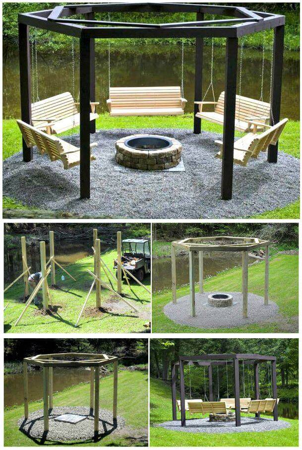 Fantastic Summer DIY Project – Build Swings Around a Campfire - Build Your Own Swings Around a Campfire For Your Yard