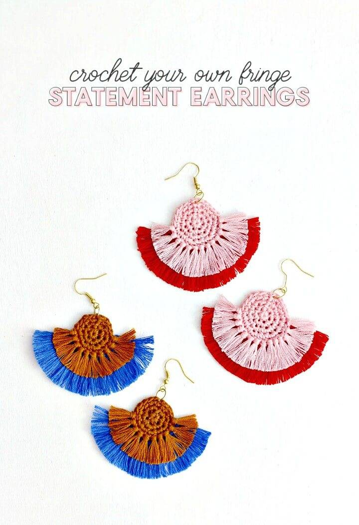 Free Crochet Fringe Statement Earrings Pattern - DIY