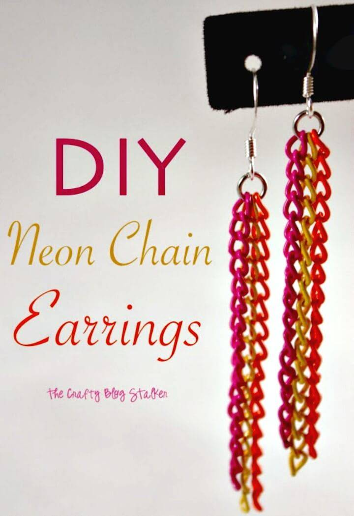 Gorgeous DIY Neon Chain Earrings