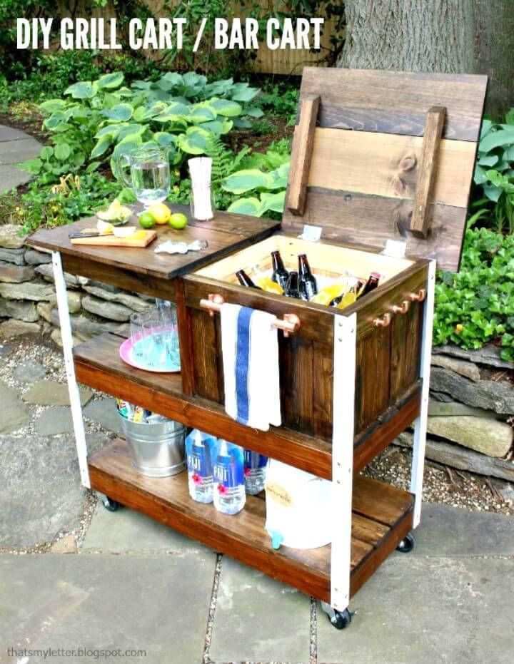 How To Build Grill Cart or Bar Cart - DIY Backyard Ideas
