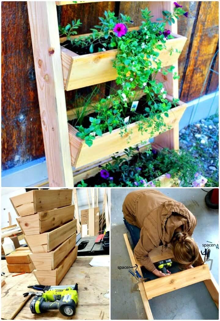 How To Build Vertical Ladder Backyard Planter - DIY