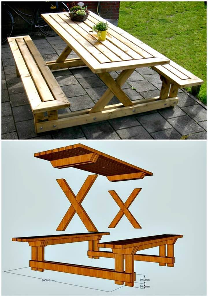 How To Build Your Own Picnic Table Tutorial - DIY Patio & Porch Decor Ideas