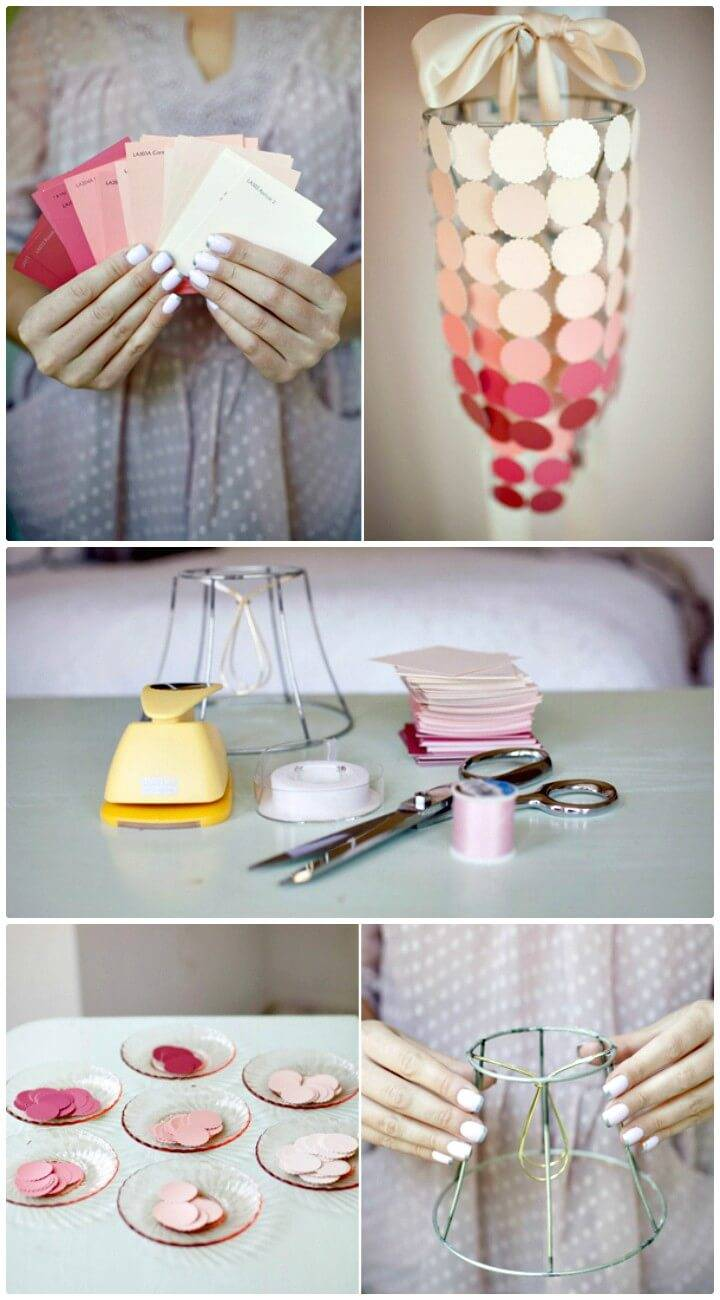 How To Make Paint Swatch Chandelier - DIY