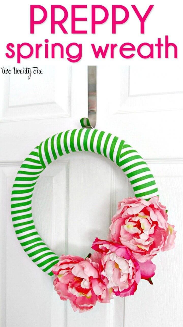 Easy DIY Preppy Spring Wreath Step By Step Tutorial