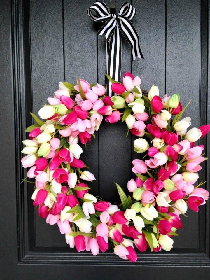 How To Make a Spring Tulip Wreath - DIY