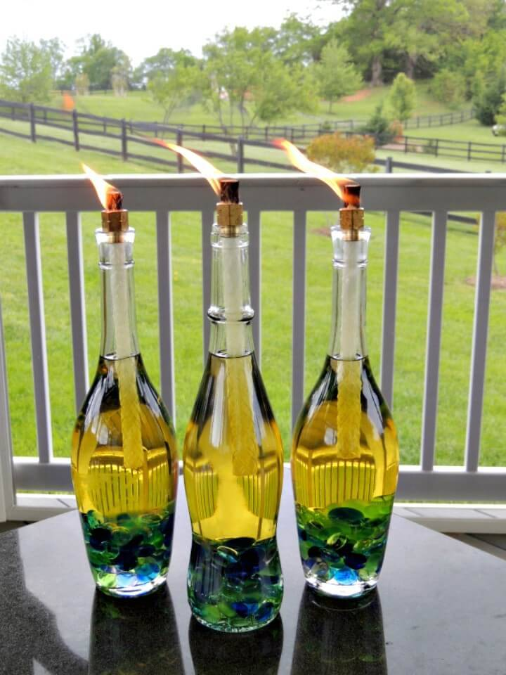 How To DIY Wine Bottle Tiki Torches