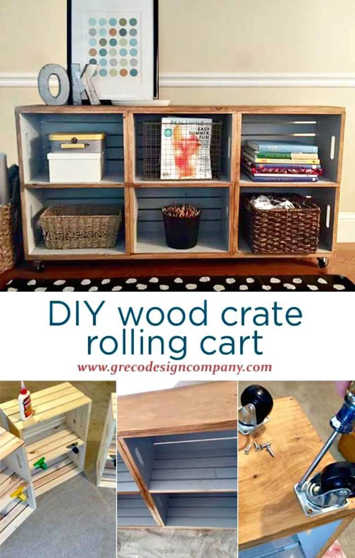 How To DIY Wood Crate Rolling Cart
