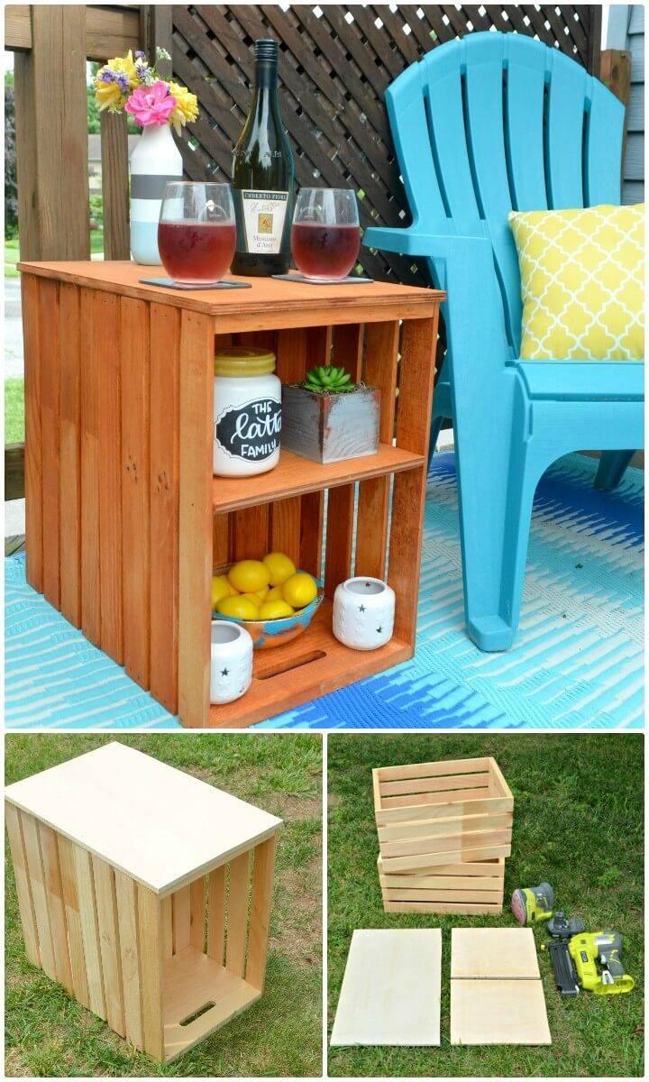 Easy DIY Wooden Crate Outdoor Table