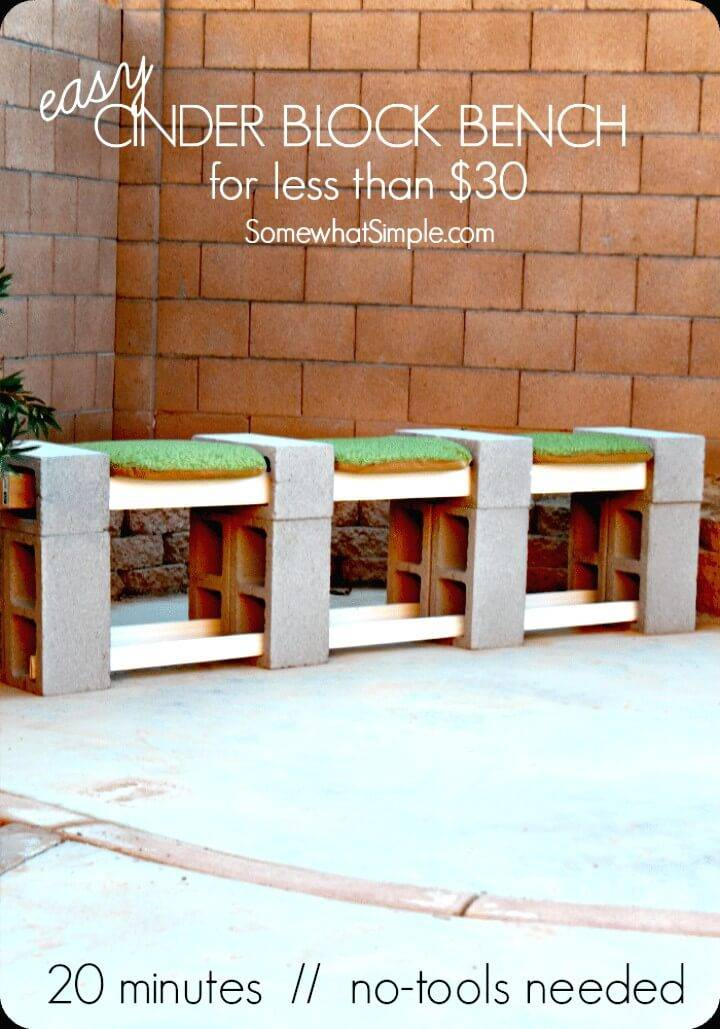 How To Make A Cinder Block Bench Under $30 - DIY