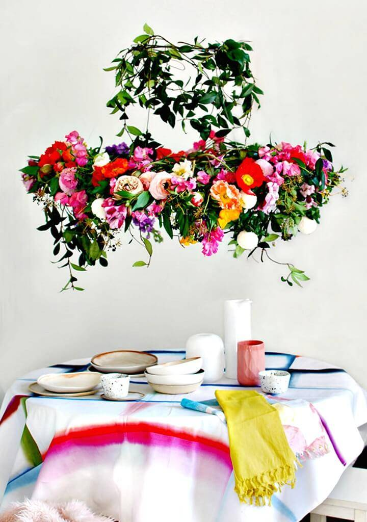 How To Make a Hanging Flower Chandelier - DIY Homemade