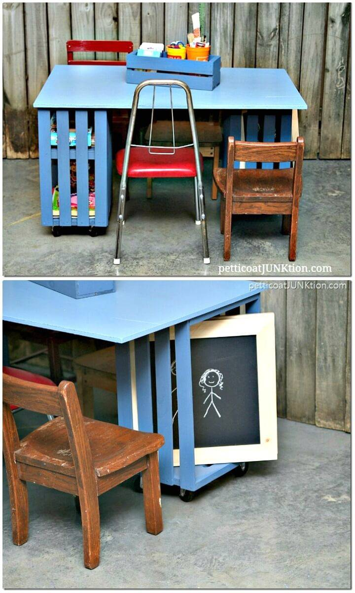 How To DIY Kids Crate Table Workstation