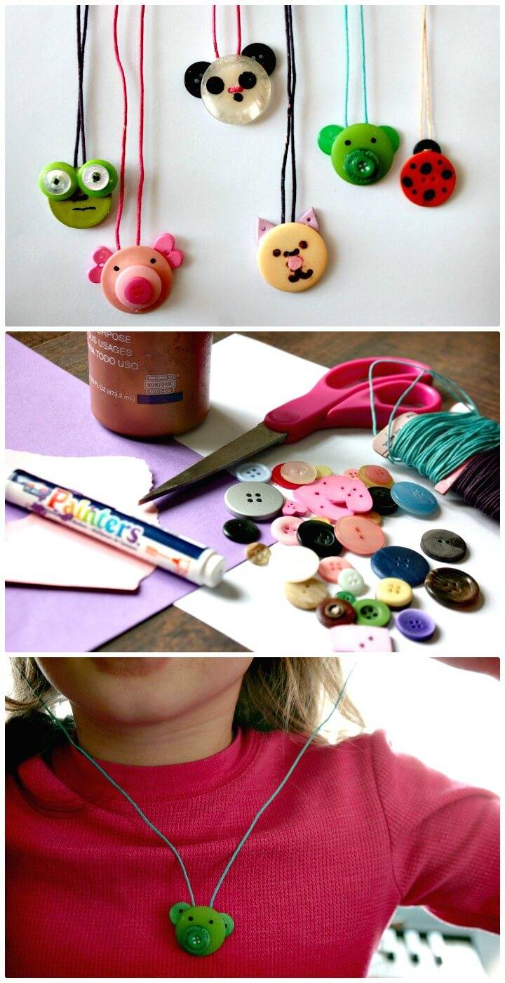 How To Make Animal Button Necklace - DIY