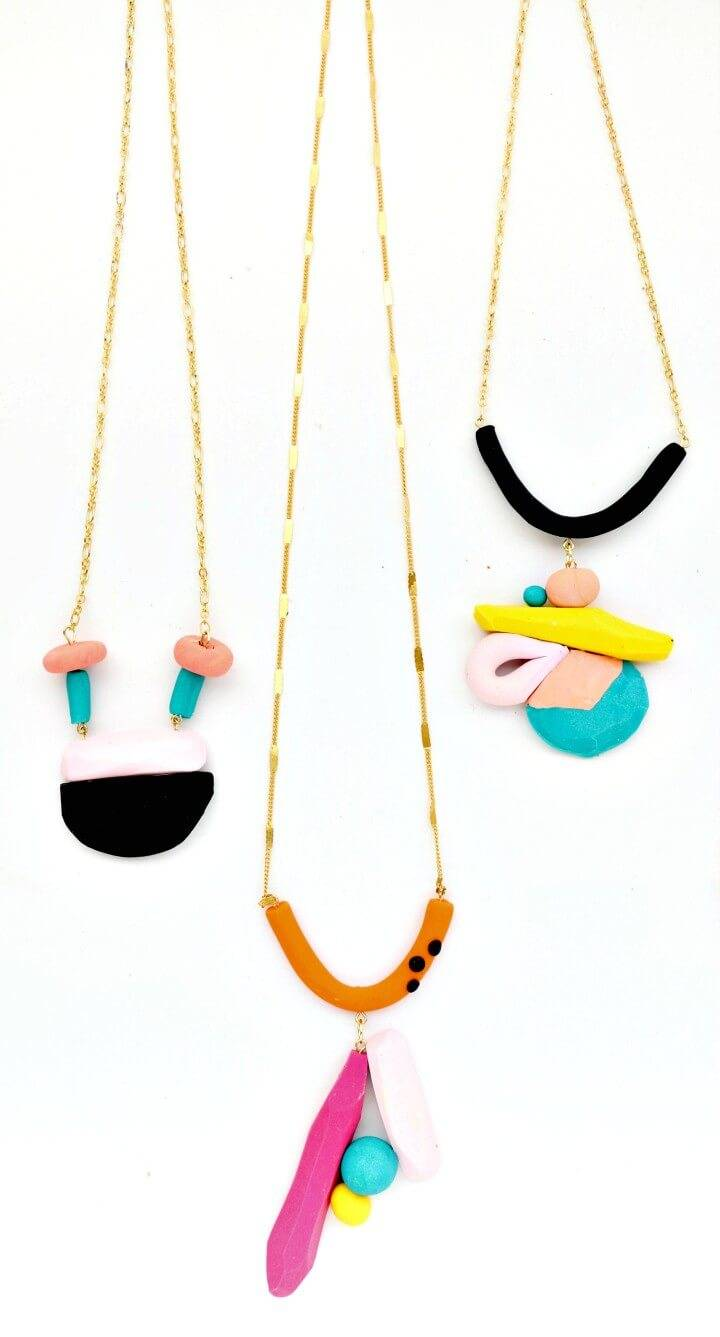 How To Make Colorful Geometric Necklaces - DIY