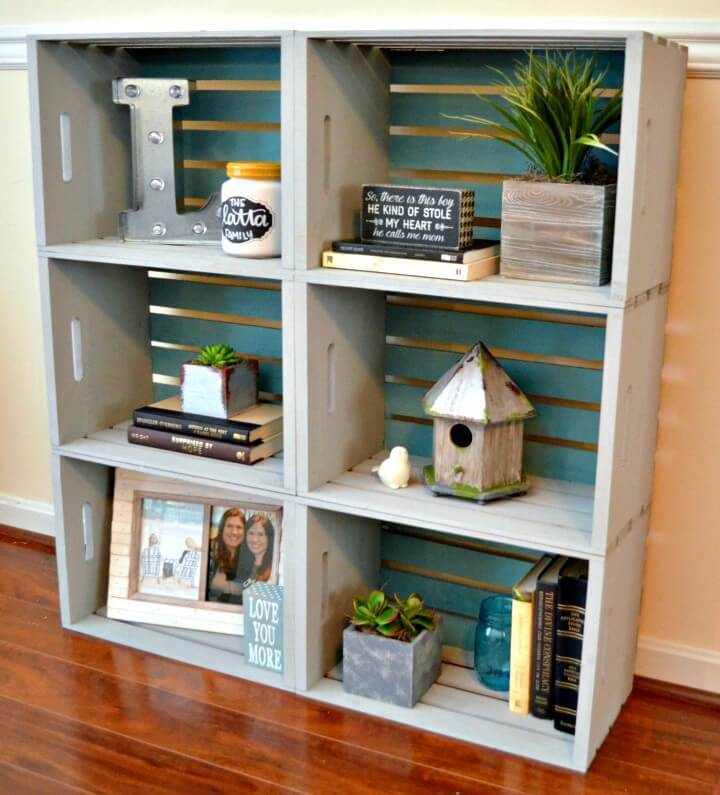 How To DIY Crate Bookcase Tutorial