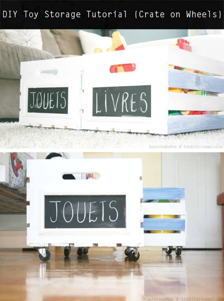 How To Make Crate On Wheels - DIY Toy Storage
