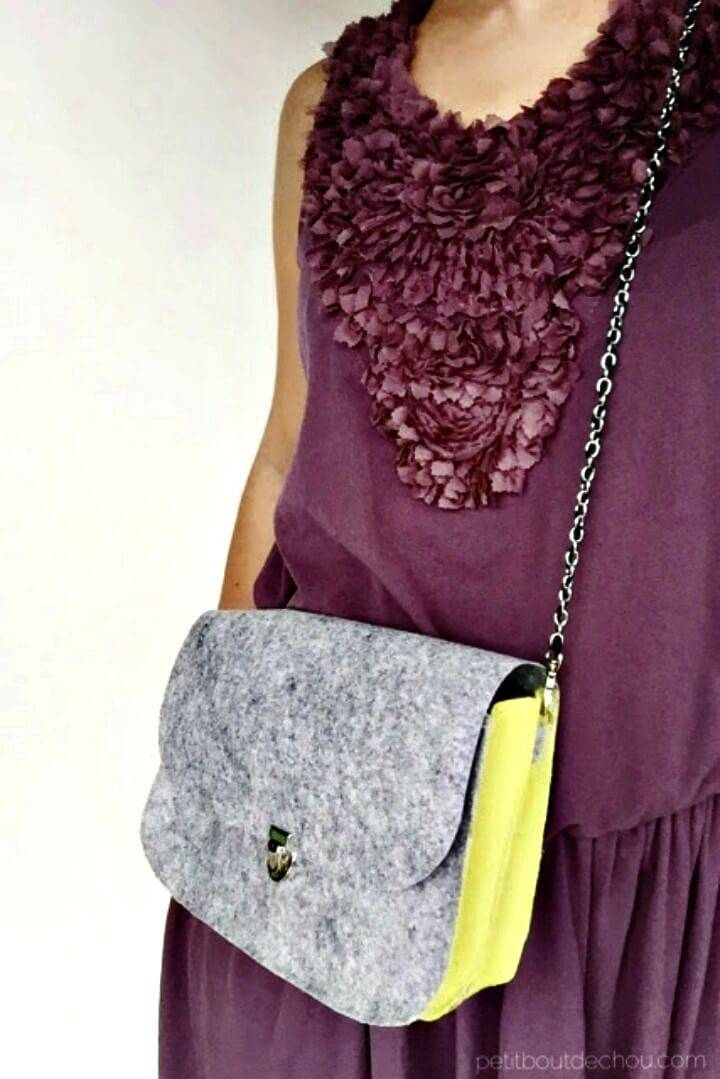 How To Make Felt Clutch Bag In 10-minute - DIY