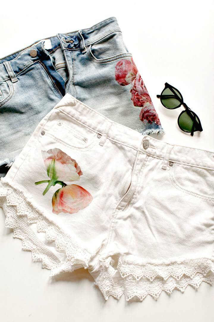 How To Make Floral Photo Transfer Shorts - DIY