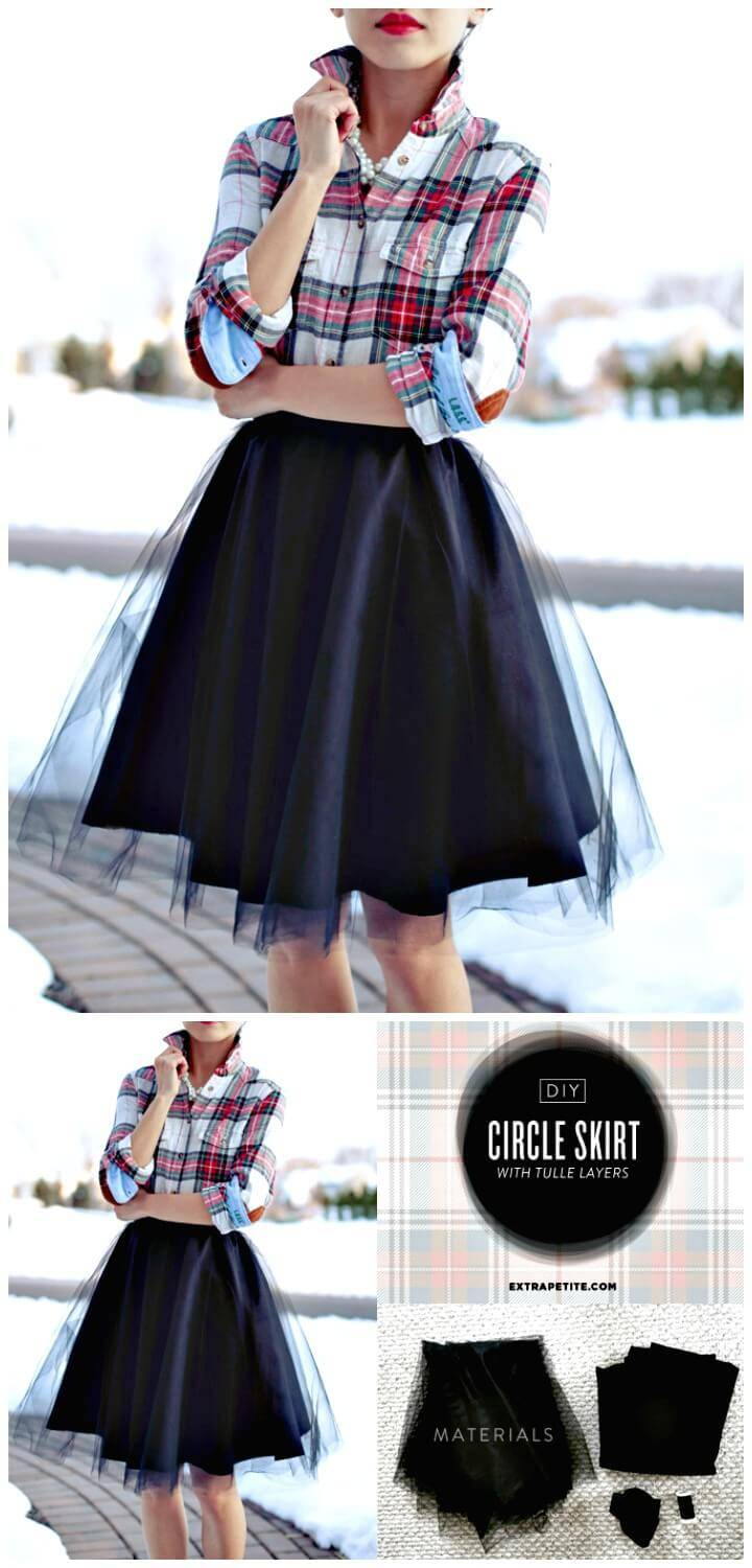 How To Make Full Circle Skirt With Tulle Overlay - DIY