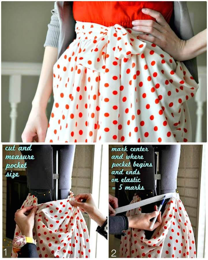 How To Make Gathered Drape Skirt With Pockets