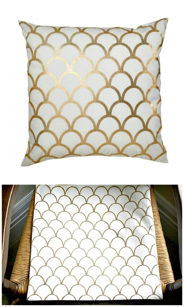 Easy DIY Gold Scallop Throw Pillow