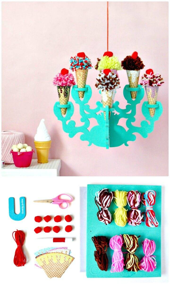 How To Make Ice Cream Chandelier - DIY