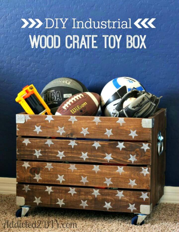 How To Build Industrial Wood Crate Toy Box