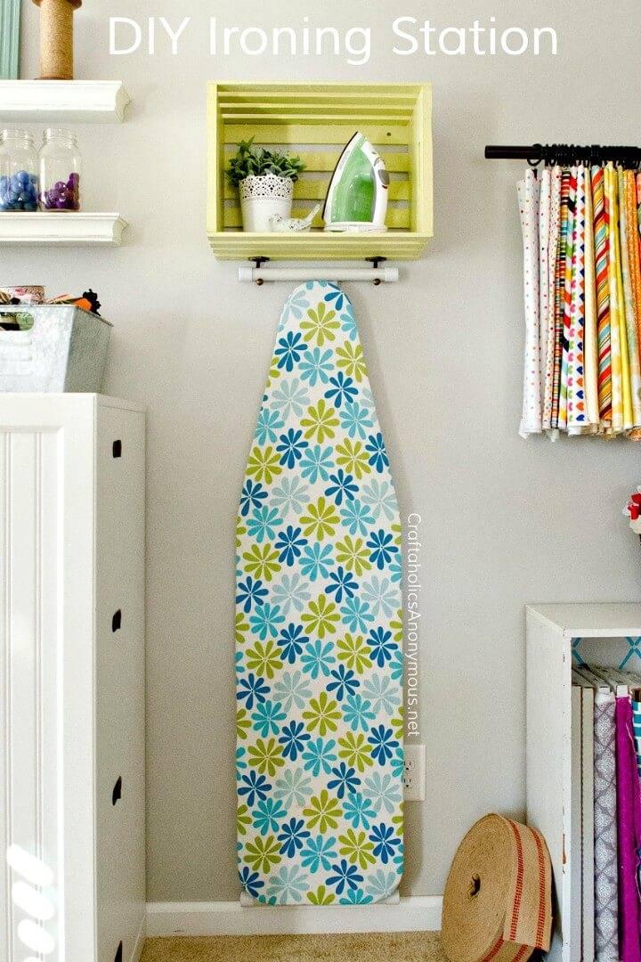 Easy DIY Ironing Board Station