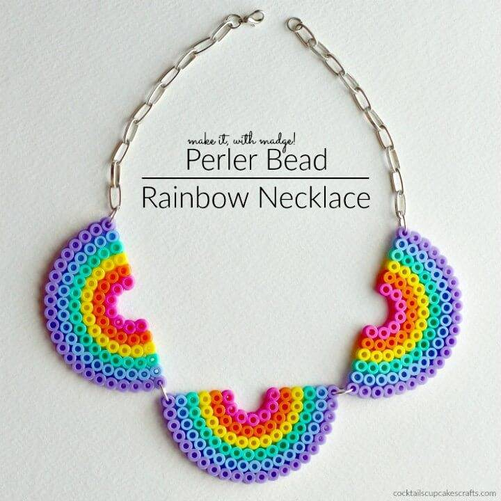 How To Make Perler Bead Rainbow Necklace - DIY