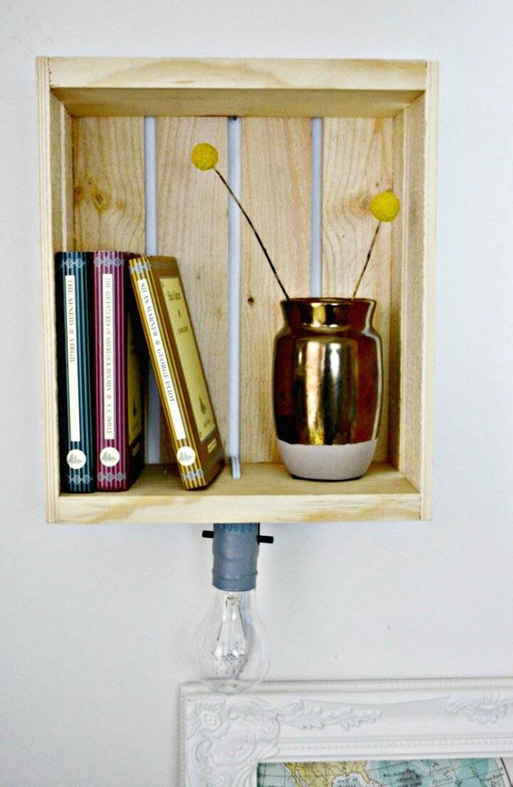 Make Your Own Shelf Sconce Using Wooden Crates