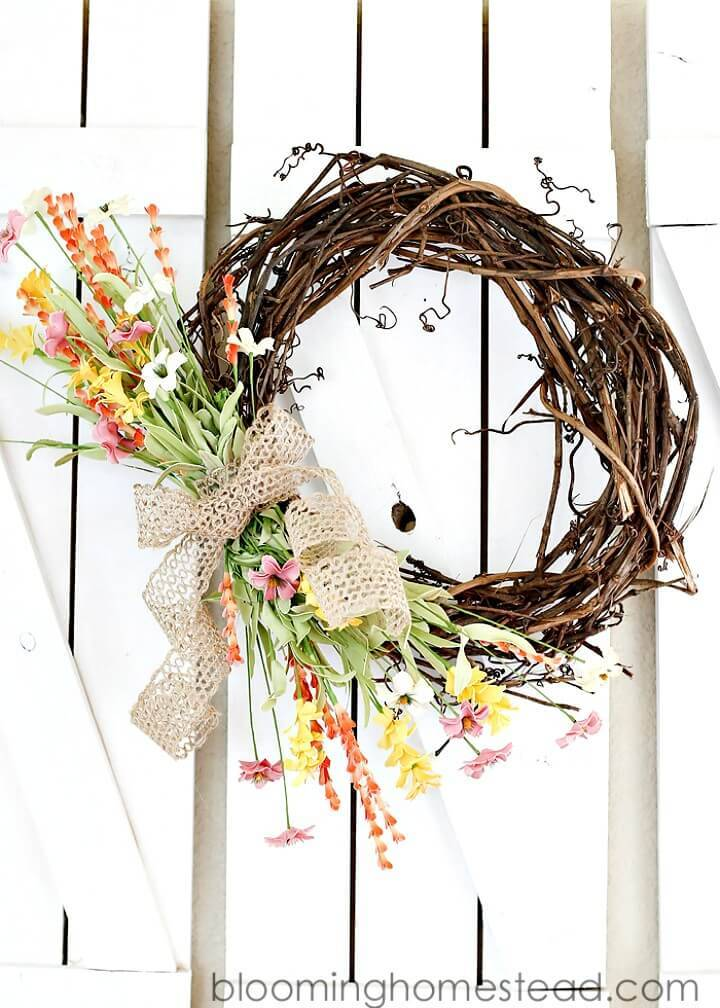 Simple How To Make Spring Wreath - DIY