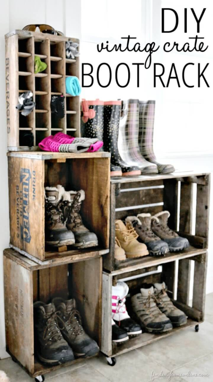 How To Make Vintage Crate Boot Rack