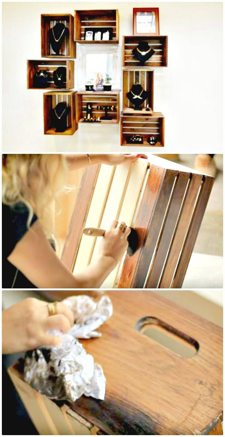 Super Easy DIY Wooden Crate Shelves
