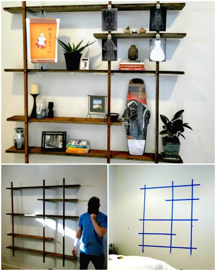 How To Make Wooden Reclaimed Floating Wall Display - DIY