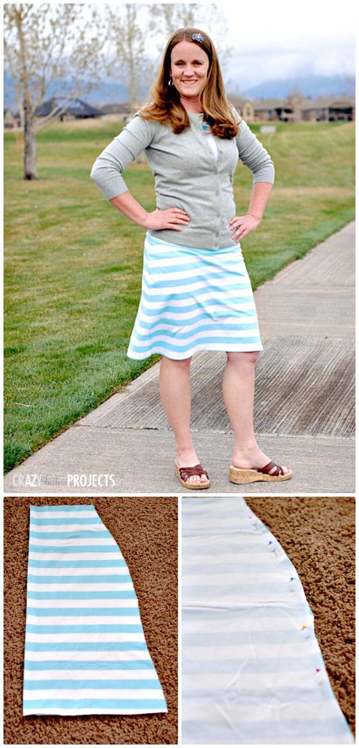 How To Sew Knee Length Knit Skirt - DIY