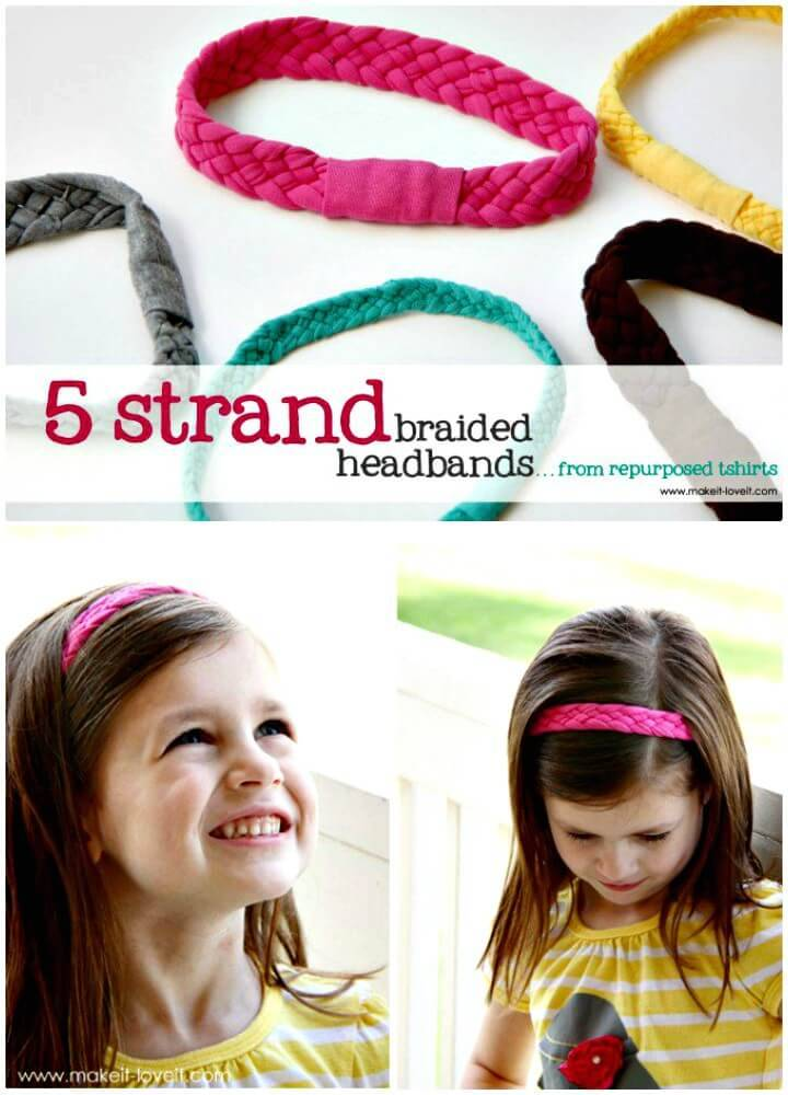 How To Turn T-shirts Into 5-strand Braided Headbands - DIY