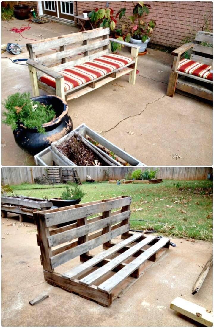 How To Turn A Pallet Into An Outdoor Patio Bench - DIY Backyard Ideas