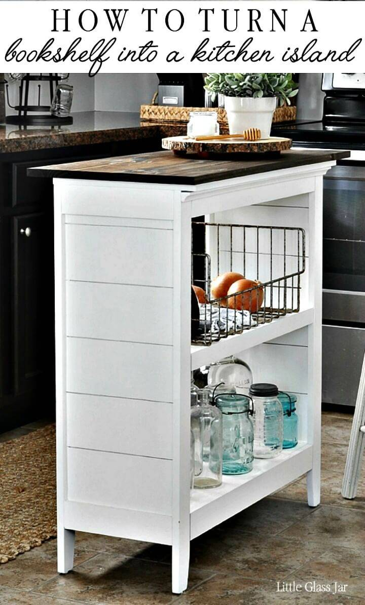 Easy How To Turn Bookshelf into Kitchen Island