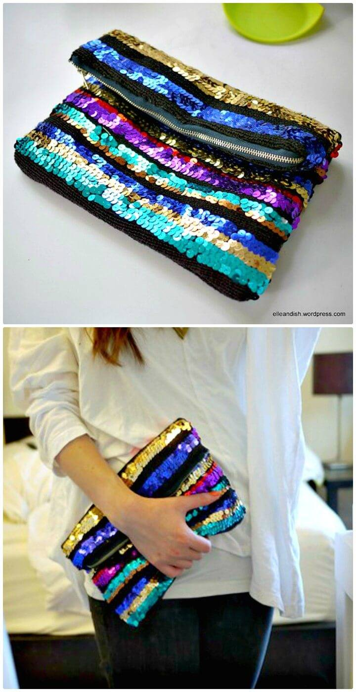 How To Turn Sequin Sweater Into A Zippered Clutch - DIY