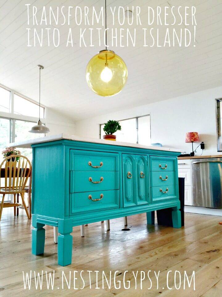 Easy How To Turn Vintage Dresser To Kitchen Island