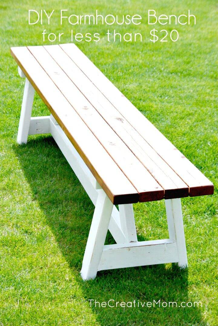 How to Build a Farmhouse Bench For $20 - DIY