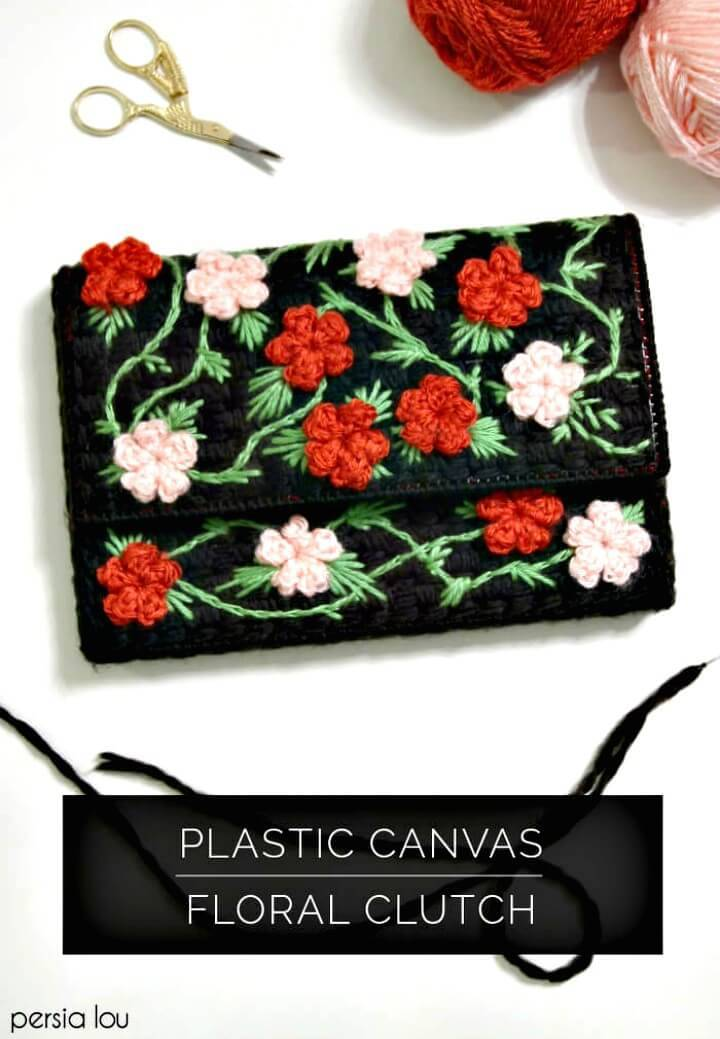 How to Create Plastic Canvas Floral Clutch - DIY
