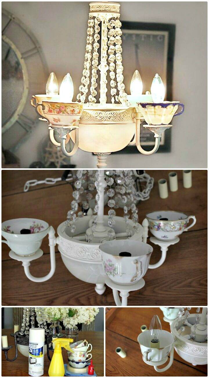 DIY Teacup Chandelier Tutorial
