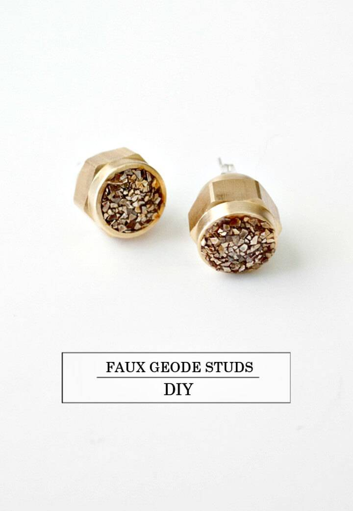 How to Make Faux Geode Studs Earnings - DIY