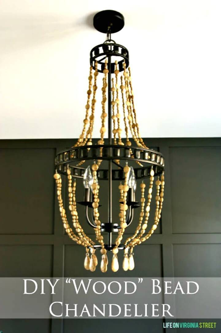 How to Make Wood Bead Chandelier - DIY