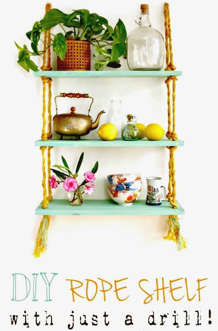 Make Your Own Rope Wooden Shelf - DIY Projects for Updating Home