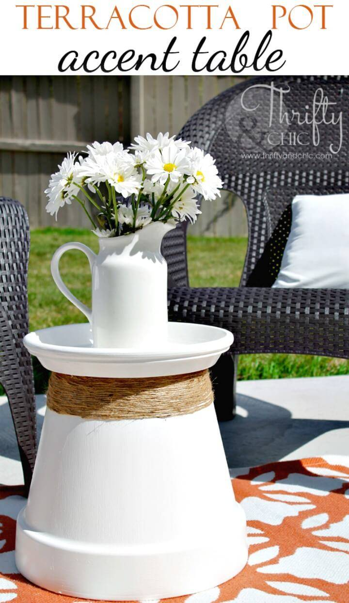 How to Terracotta Pot Re-purposed Into Accent Table - DIY