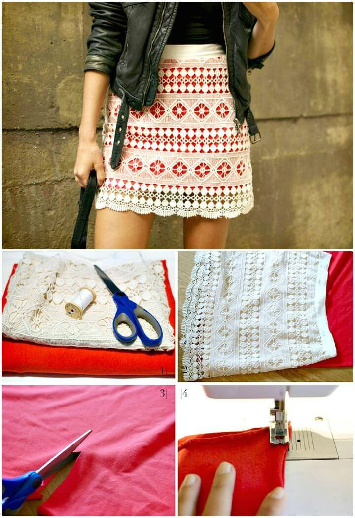 Make Brightly Lined Lace Mini Skirt - DIY