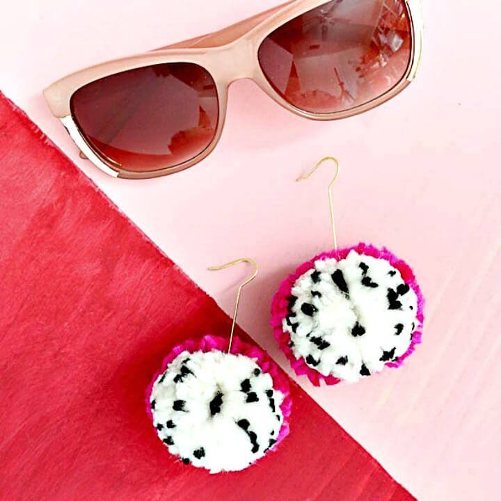 Make Dragon Fruit Pom Pom Earrings - DIY