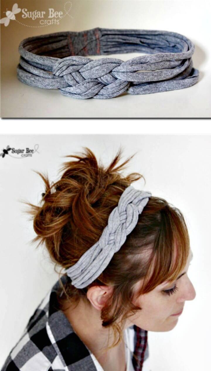 Make Knotted Headband With Tshirt Yarn - DIY