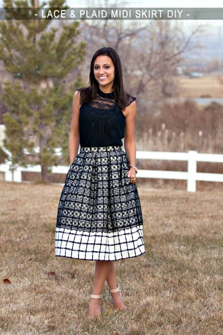 DIY Lace & Plaid Midi Skirt Tutorial